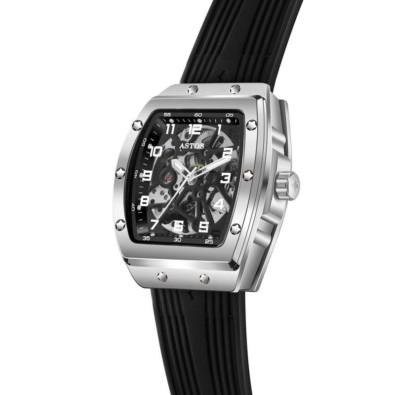 Millionaire Silver Case and Dial - Black Strap