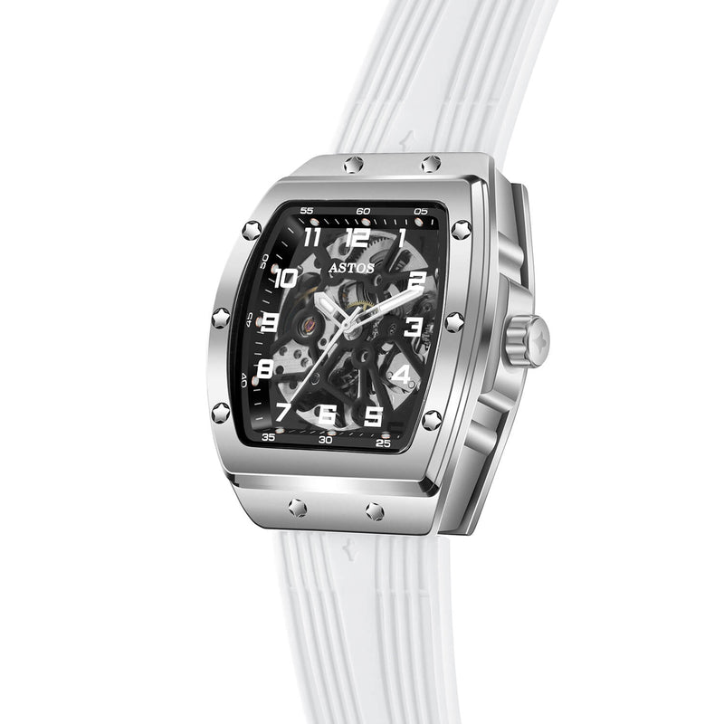 Millionaire Silver Case and Dial - White Strap