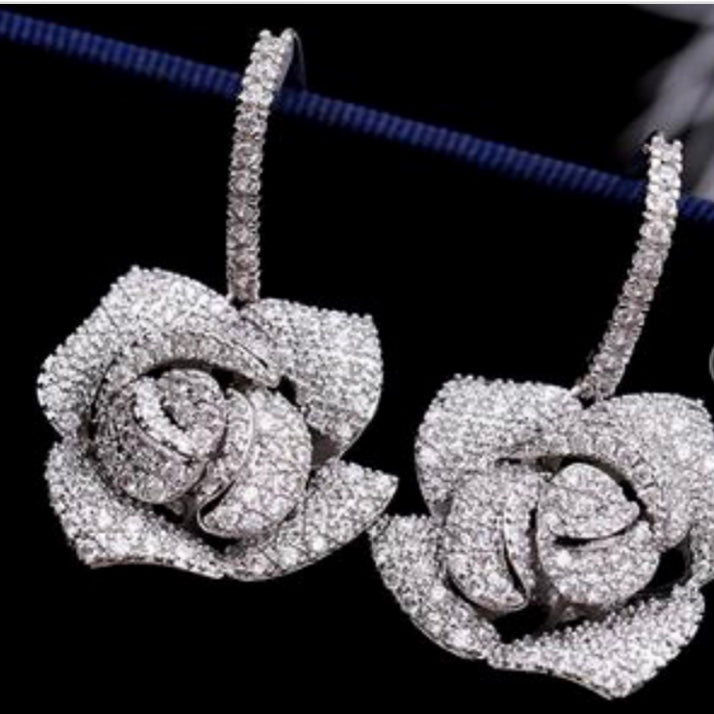 Silver Cubic Zirconia Flower Earrings