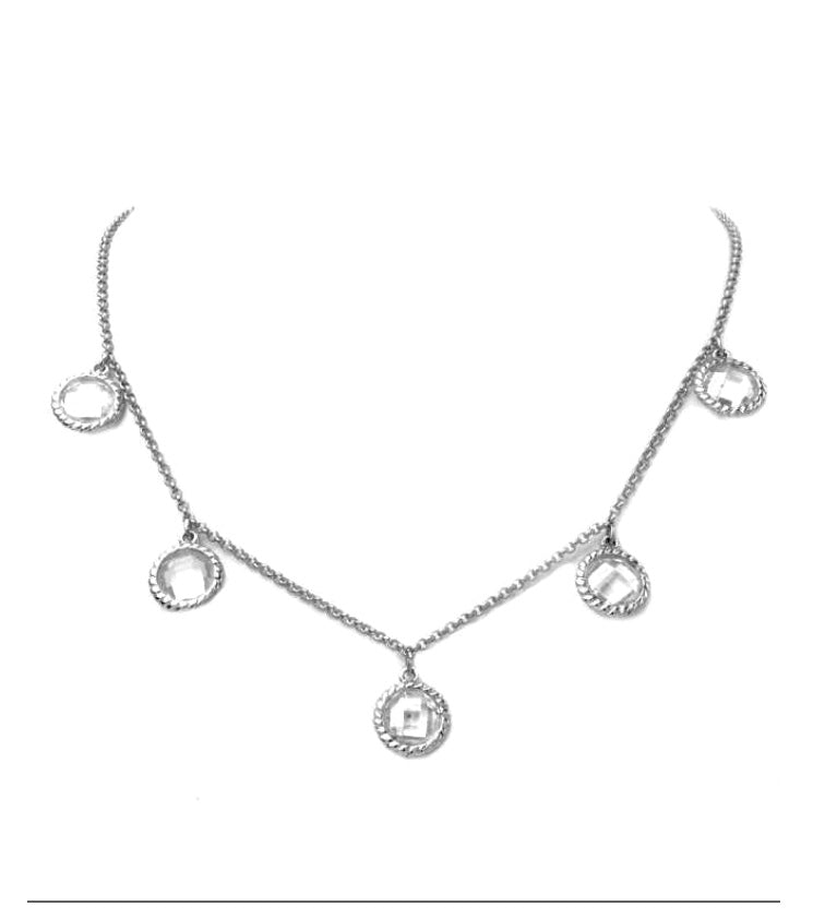 Silver with Cubic Zirconia Teardrop necklace