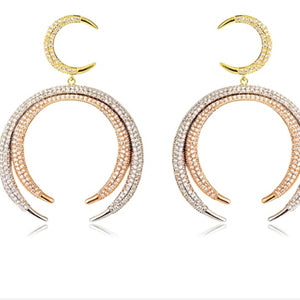Gold Cubic Zirconia Multi Stone Dangling Earring