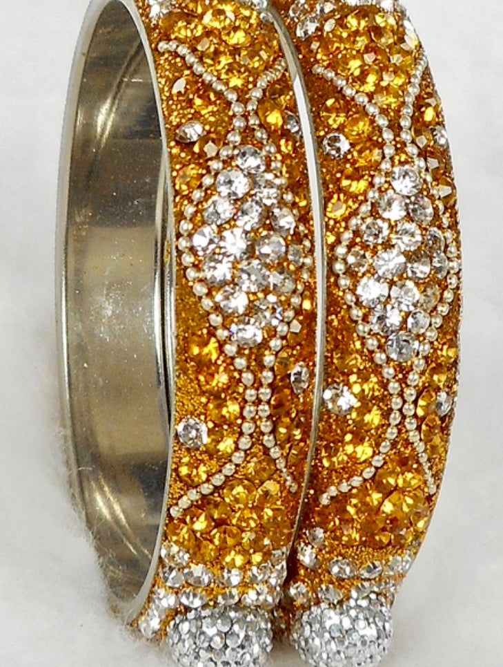 Gold with zirconia Crystal Bangles