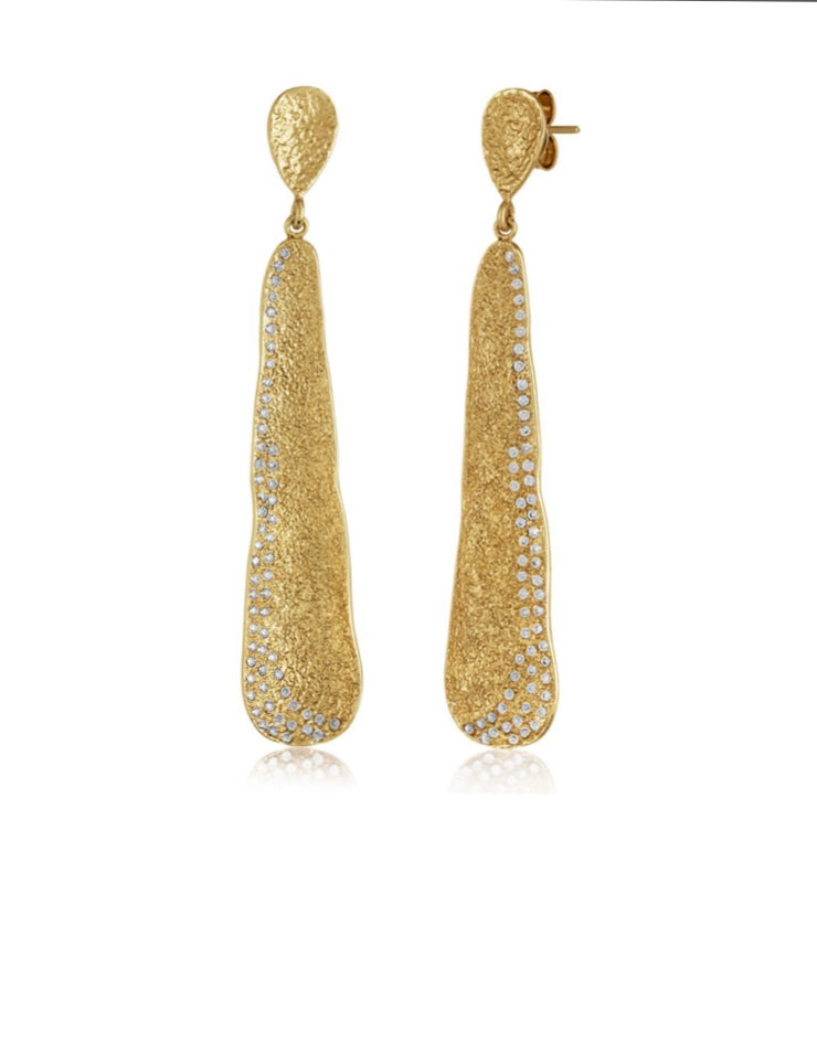 Gold Pod with White Diamondettes Earrings
