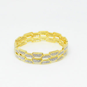 Gold Polished Zirconia Bangles