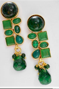 Gold with Green Stones Fashion Earrings