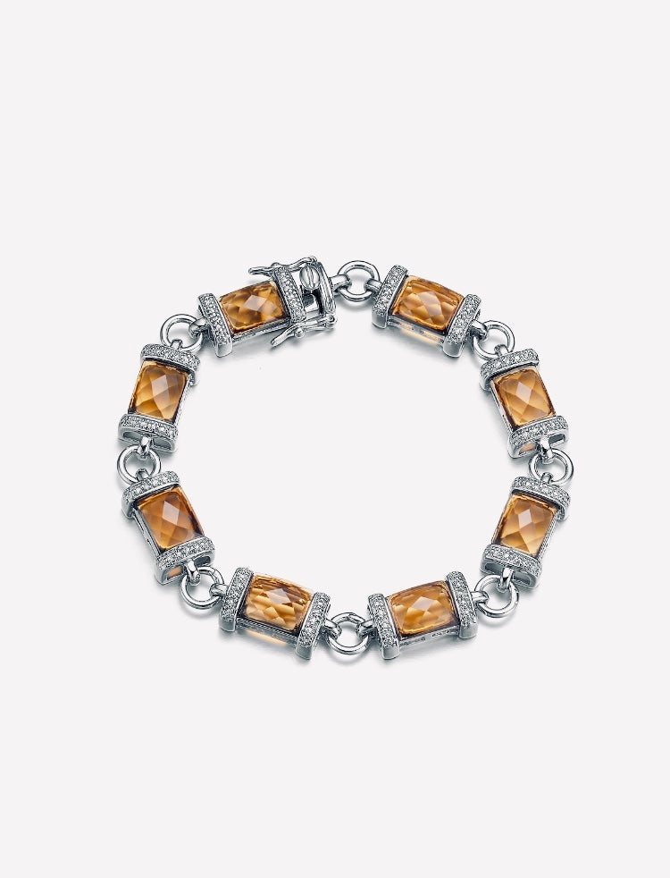 Silver with Champagne Stone and Zirconia Bracelet