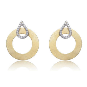 14KT Gold Round Circle with Cubic Zirconia Earrings