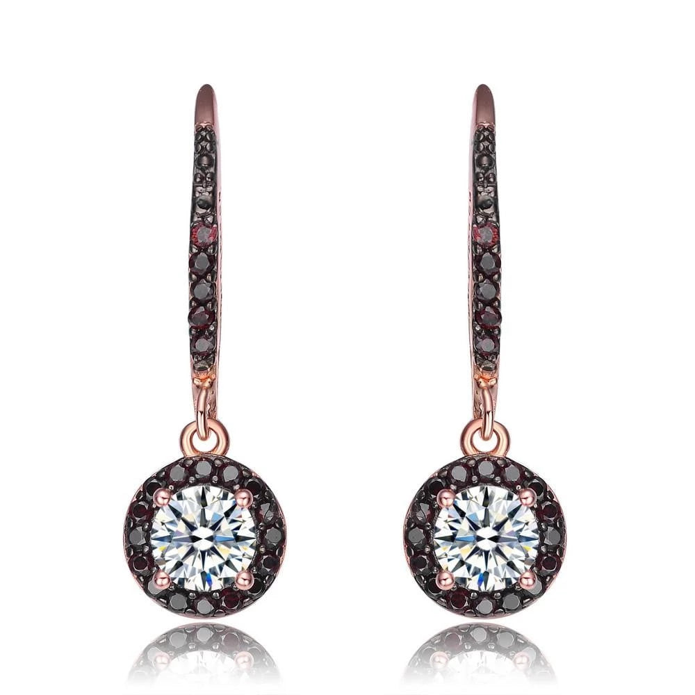 14KT Rose Gold over Silver CZ Earrings