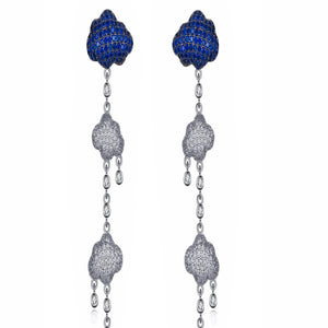 Silver with Blue and white Zirconia Drop Earrings