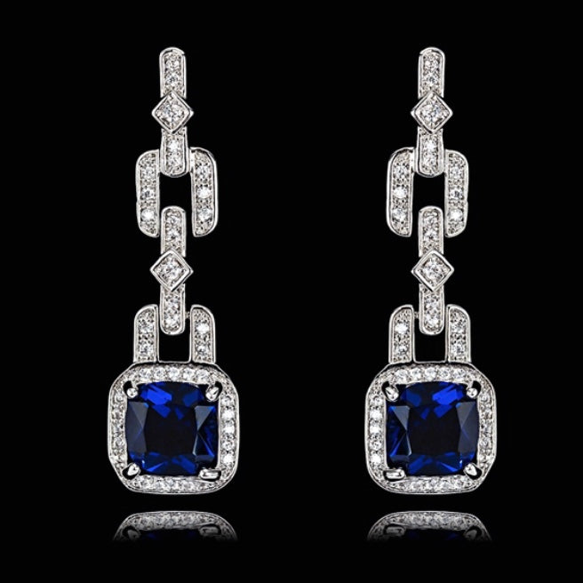 Silver Blue and White Zirconia Stone Dangling Earrings