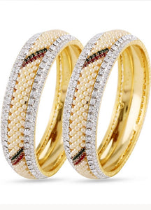 Gold with Zirconia and Pearls Bangles