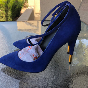 Tom Ford Suede Royal Blue Padlock Ankle-wrap