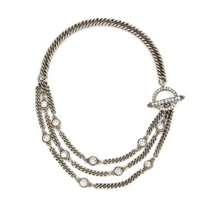 Ben Amun Silver Link Multi Chain Toggle Necklace