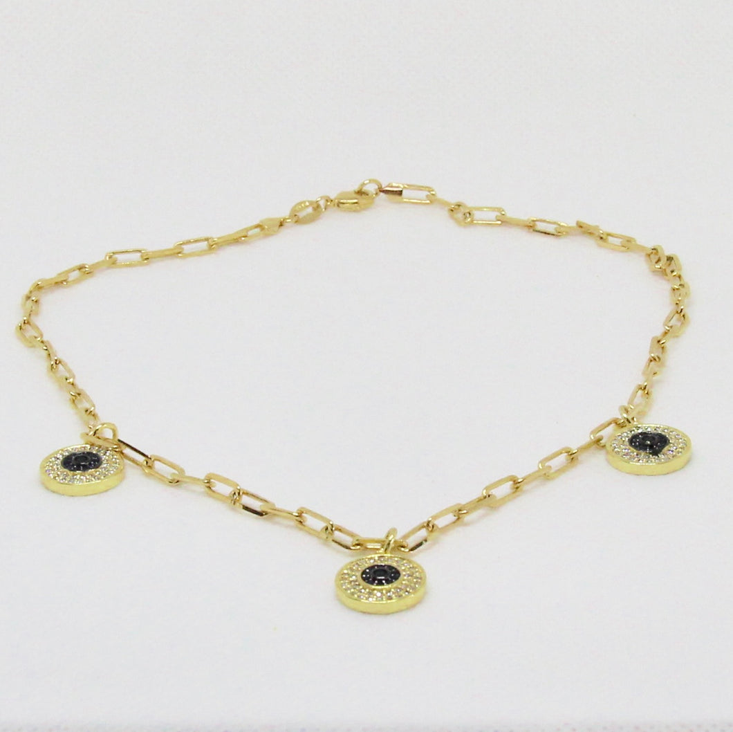 Gold link with Blue Evil Eye Crystal Necklace
