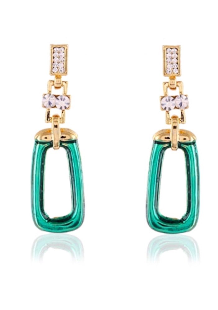 Green Metal with crystal earrings