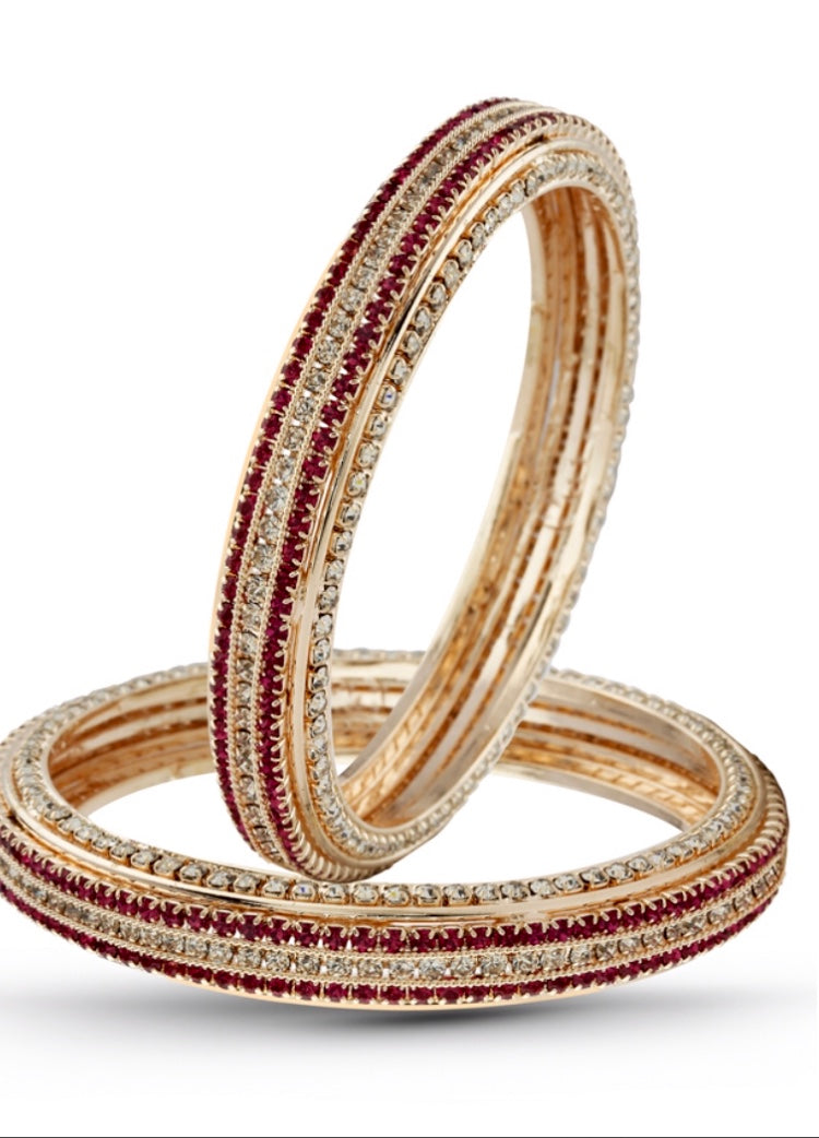 Red and White Cubic Zirconia Bangle