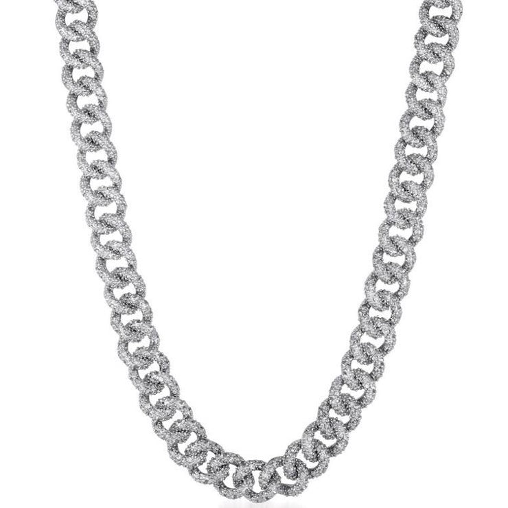 Silver with Cubic Zirconia Link Necklace