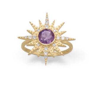 14 KT Gold Plated CZ Sunburst with Amethyst Ring