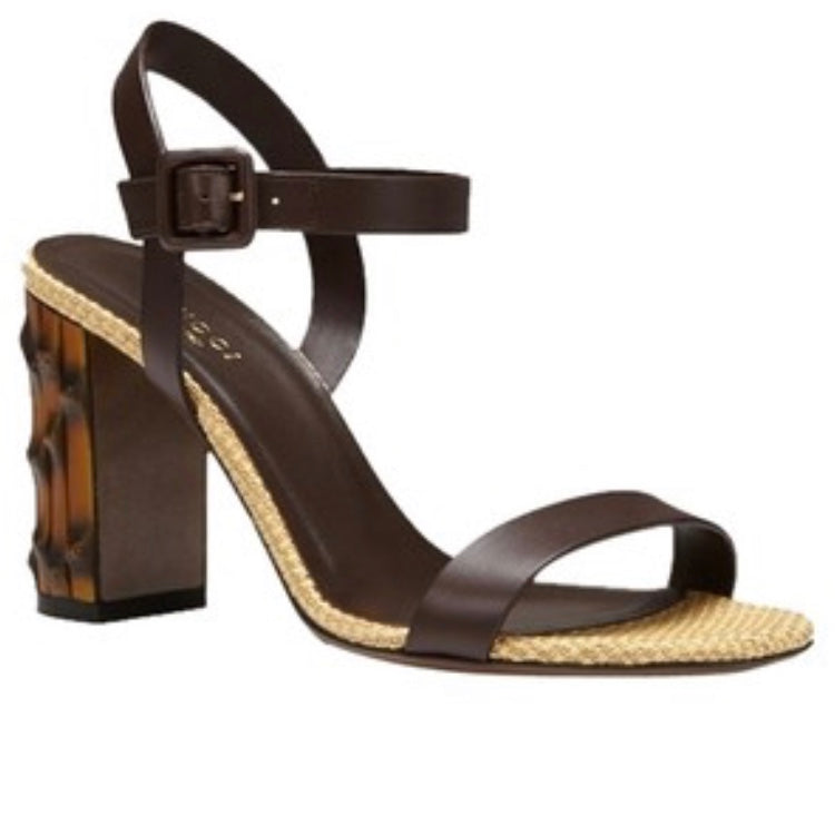 Gucci Brown Bamboo Heel Sandals