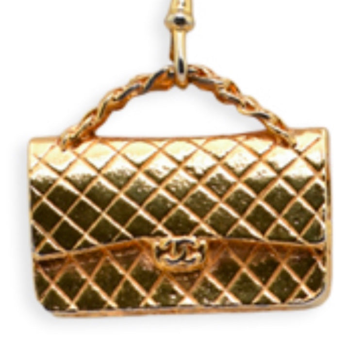 CHANEL LARGE QUILTED GOLD TONE BAG CHARM