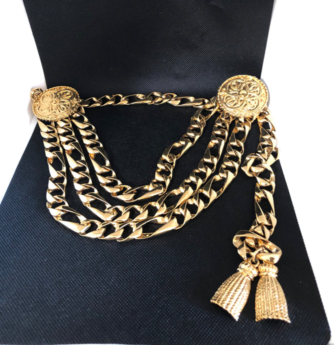 St John Gold Triple Tier Link with Emblem and Tassel Belt