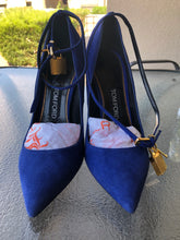 Load image into Gallery viewer, Tom Ford Suede Royal Blue Padlock Ankle-wrap