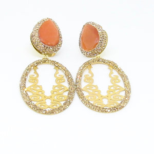 Gold Laser Cut with Stone Earrings