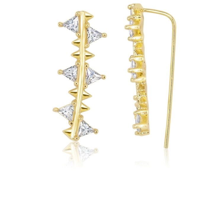 Gold with white diamondettes ear climber earring
