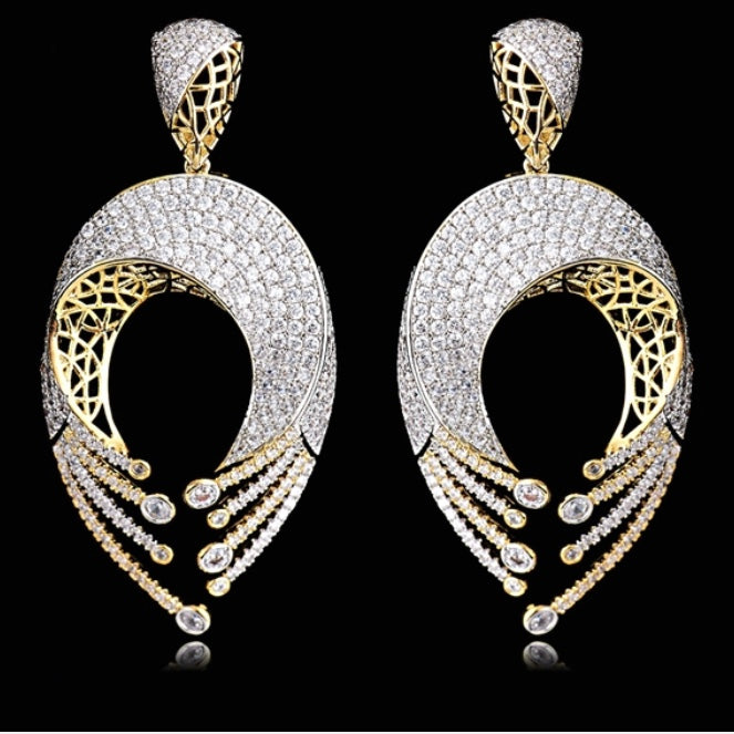 Gold with Cubic Zirconia Fashion Earrings