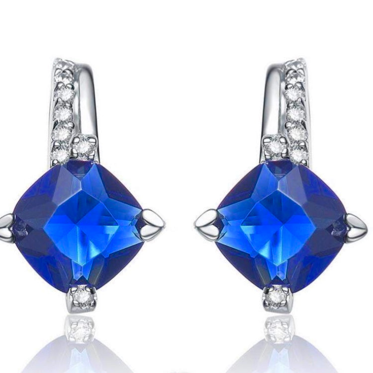 Silver with Blue CZ Earrings