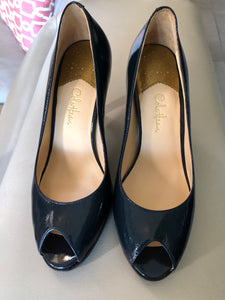 Cole Haan OT Air Pump Blue Patent Open Toe Pump