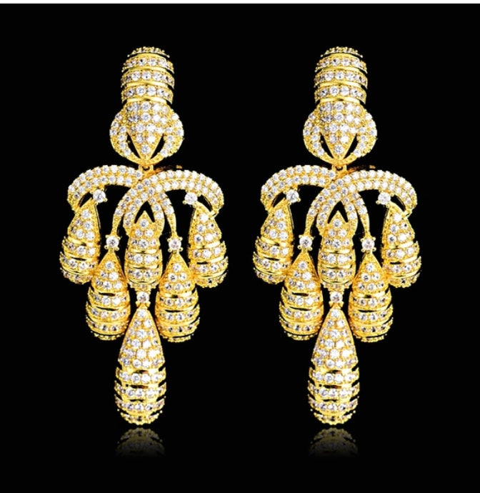 Gold Chandelier with Cubic Zirconia Earrings