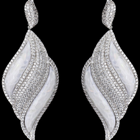 Dangling Shell and Cubic Zirconia Earrings