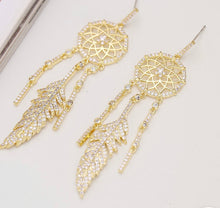 Load image into Gallery viewer, Dream Catcher Feather Crystal Earrings
