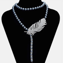 Load image into Gallery viewer, Long Grey Pearl with Zirconia Necklace
