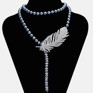 Long Grey Pearl with Zirconia Necklace