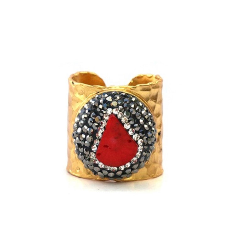 Gold with Red Coral and Pave Crystal Ring