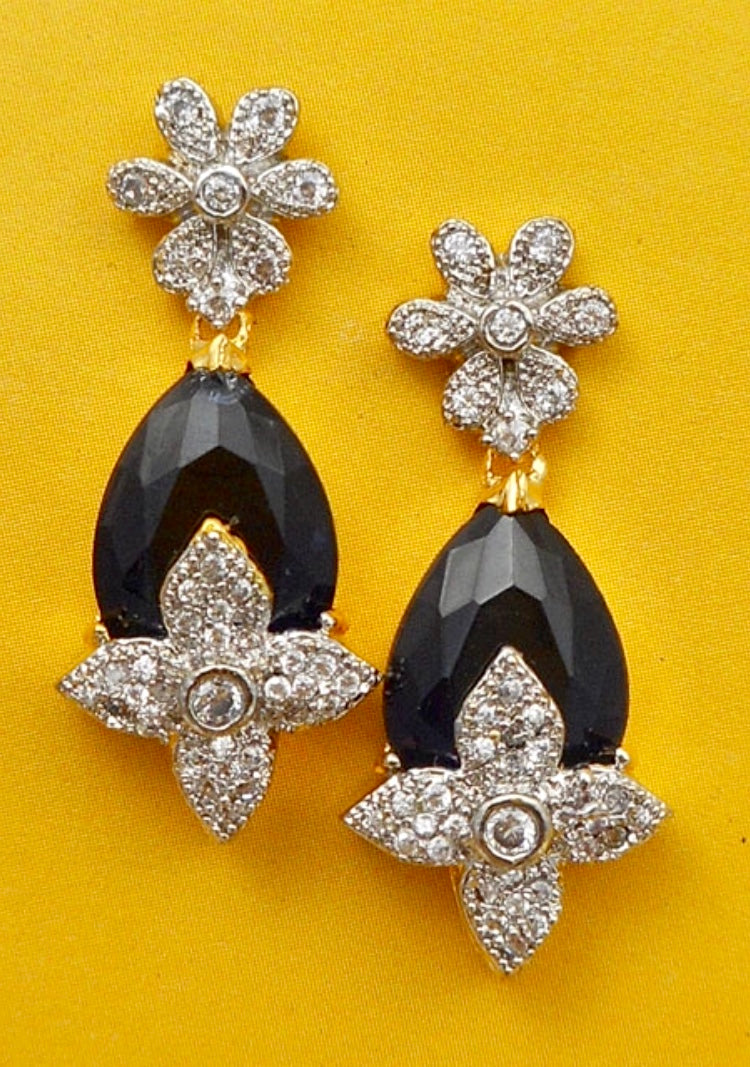 Black and Crystal Floral Shape Earrings