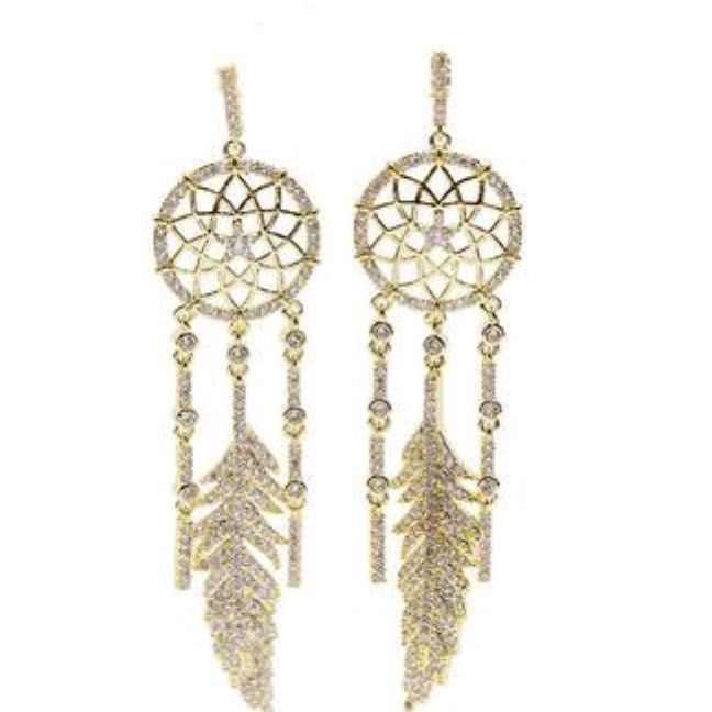 Dream Catcher Feather Crystal Earrings