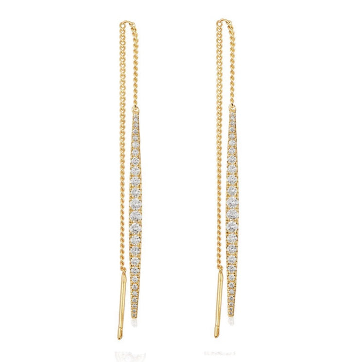 Gold with White Diamondettes Earrings