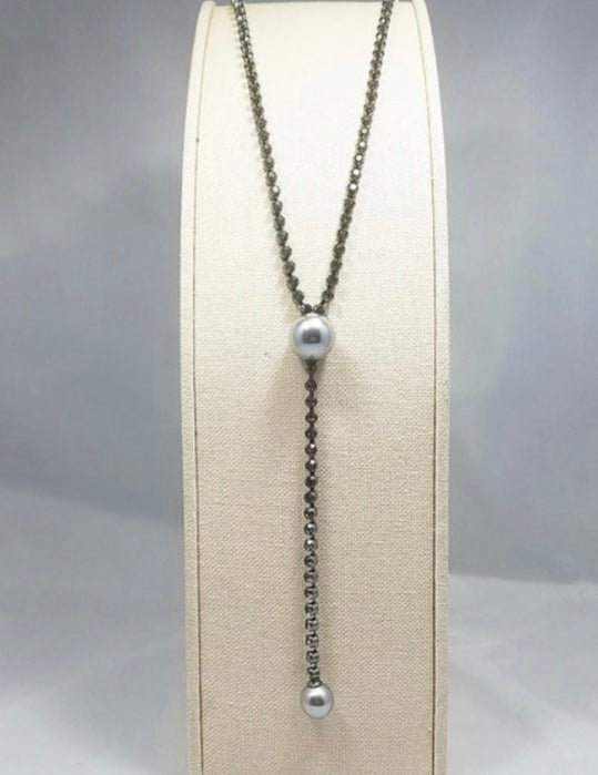 Pearl Y-Long Black Necklace