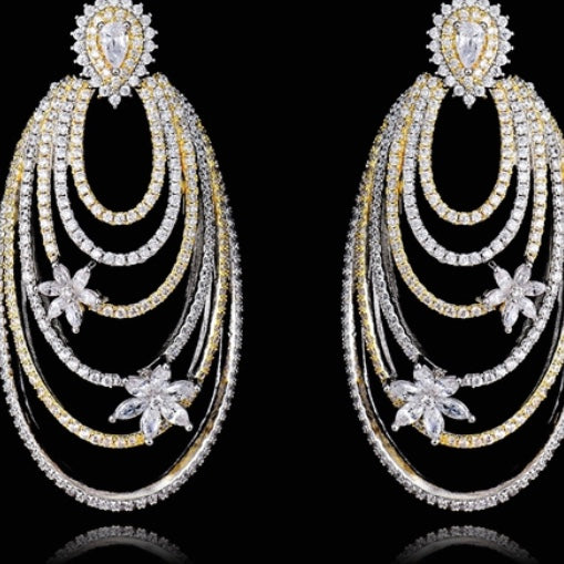 Silver Cubic Zirconia Dangling Fashion Earrings
