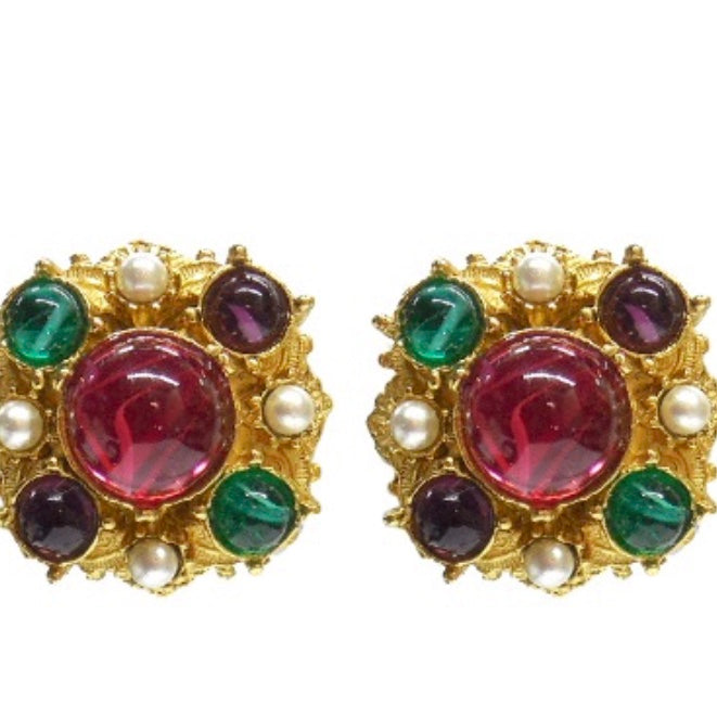 Ben Amun Multicolor Round Clip-On Stud Earrings