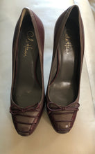 Load image into Gallery viewer, Cole Haan all leather high heel pump in Burgundy with Grey Trim