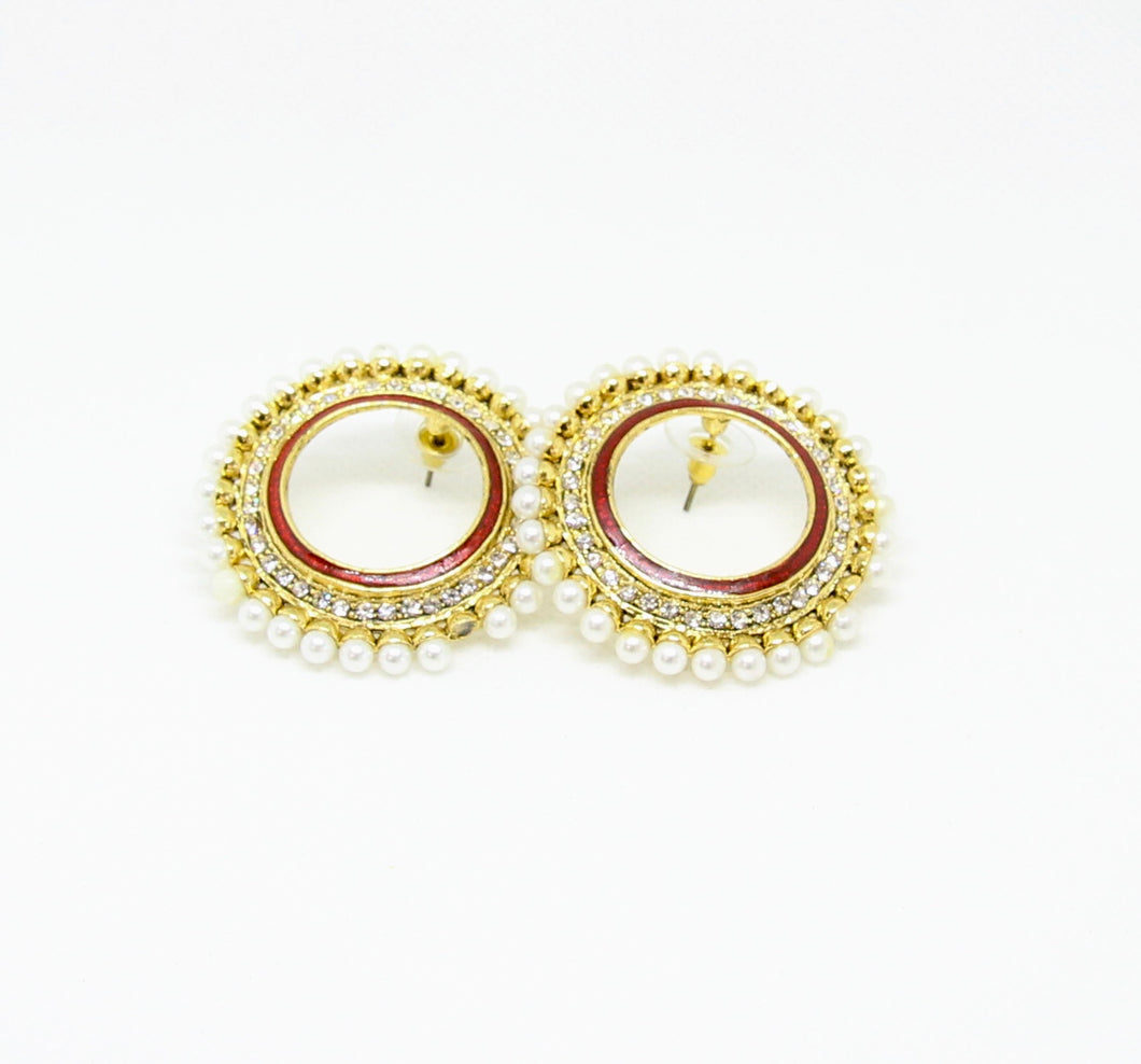 Moon Shape Ruby and White Stone Earrings