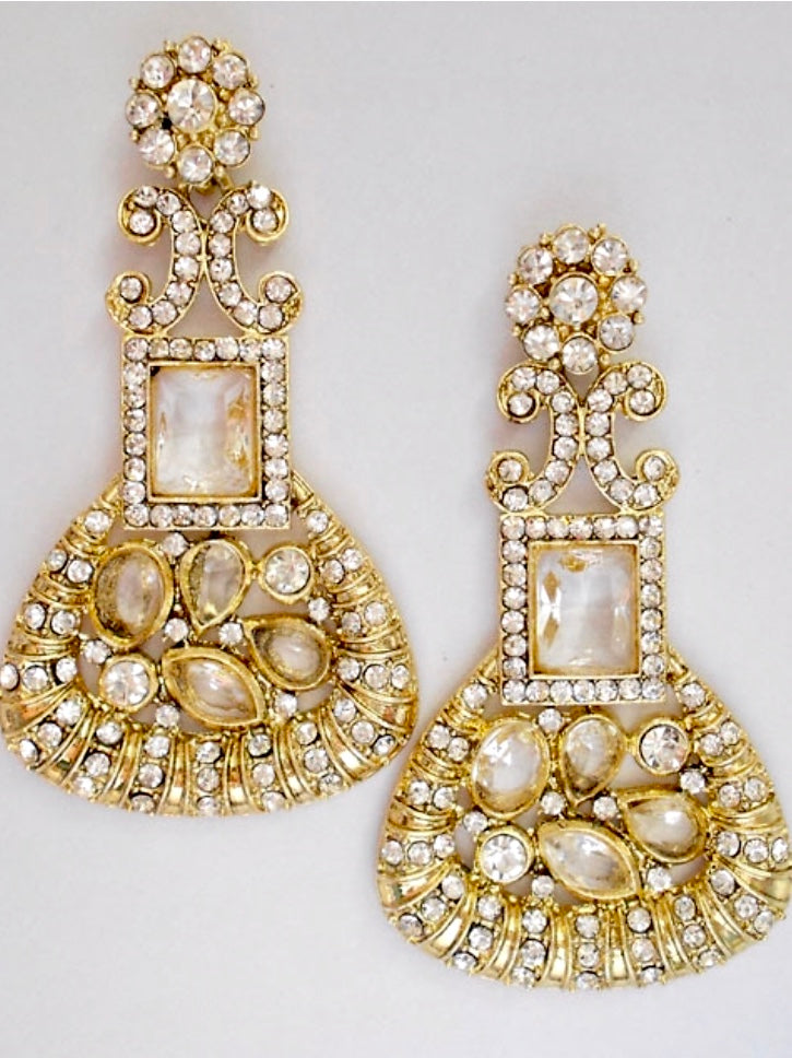 Gold with Cubic Zirconia Crystal  Earrings