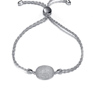 Silver Cubic Zirconia Braided Adjustable Bracelet