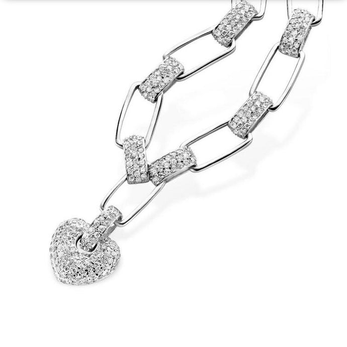 Silver Link Cubic Zirconia Heart Drop Necklace
