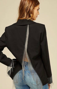 Open Back Chain Detail Black Jacket