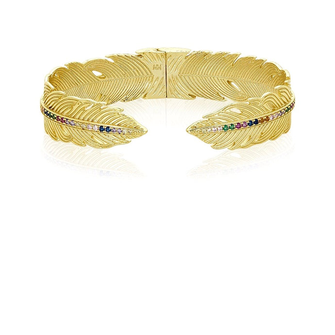 Feather Cuff with Rainbow Diamondettes
